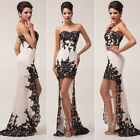 Beige Strapless Lace Chiffon Evening Dress Formal Wedding Prom Ball Gown Mermaid