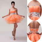 New Short Voile Wedding Party Banquet  Cocktail Prom Evening Ball Gown Dress QQ