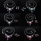 Beauty Romantic Small Rose Pattern Crystal Stone Necklace + Earrings New Gift