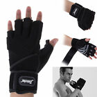 Black Men's Weight Lifting Gloves Long Wrist Wrap Strength Training Gym in M L