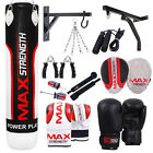 MAXSTRENGTH Heavy Boxing Punch Bag Custom Set, Chain, Bracket, Gloves Pads Rope
