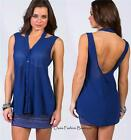 Women's   Blouse blue chiffon cut out backless tunic tank top Teal Blue S M L