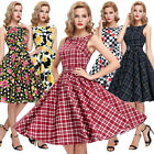 STOCK Retro 50's Vintage Floral Cocktail Evening Pin Up Swing Dress