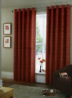 BARGAIN CORAL RED & TAUPE EYELET RING TOP CURTAINS.ALL SIZES.NEXT DAY DELIVERY