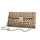 New Exports Chain Leopard Messenger bag Women's Leather like Shoulder Bag Clutch