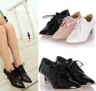 Womens Pointed Toe Lace Up Diamante Block Heel Oxford Court Shoes Plus Size 1405