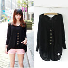 Ladies Batwing Hollow Out Casual Loose Knitted Sweater Cardigan Tops Coat
