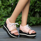 summer women shoes leather sneaker wedge heel lace up platform open toe sandal