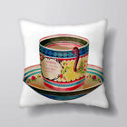 Coffee Tea Cup Personalised Cushion Fabric Panel / Case / Filling Shabby Chic