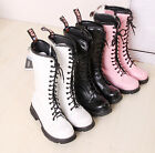 Winter New Women flats lace-up mid-calf round toes military boots Plus Size FREE