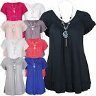 New Ladies Frill V Neck Necklace Plus Size Gypsy Short Sleeve Tops 12-22