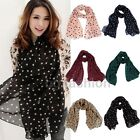 Ladies Polka Dot Print Pashmina Scarf Chiffon Soft Scarves Hijab Long Wrap Shawl