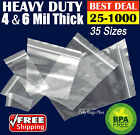 Clear 4-Mil Ziplock Bags HEAVY-DUTY Reclosable Zip Top Plastic Zipper Poly Ml '