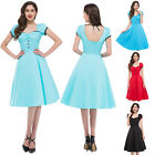 UK Ladies Vintage 40s 50s Swing Pinup Rockabilly Retro Party Prom Evening Dress