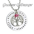Personalised Stainless Steel Necklace Family Name Tree Of Life Pendant D129
