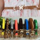 New Girl Lady Waistband  PU Leather Belt Butterfly Gold Buckle Thin Thinny Decor