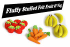 *NEW* FELT SOFT TOY STUFFED FRUIT & VEG for Play Shop or Juggling 7 in each set
