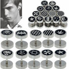 2pc Mens Surgical Steel Earring Ear Stud Fake Ear Stretcher Stainless Black Punk