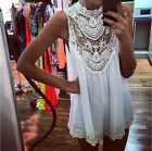 New Sleeveless Mini Dress Sexy Floral Crochet Lace Skirt Short Dress Embroidery