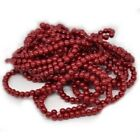 ** CLEARANCE **  2 STRANDS 4MM GLASS PEARL BEADS BURGUNDY