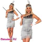 Grey 1920s Flapper Charleston Fancy Dress Costume Cigarette Holder Necklace Boa