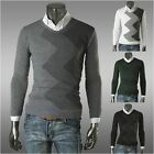 Wave Pattern Mixed Colors Men Slim V-neck Pullover Coat Knitted Sweater MZL248