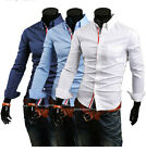 New Men's Concise Fashion Casual Slim Fit Long Sleeve Solid Shirt 3 Colors 5Size
