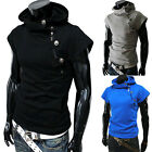 Unique Men's Stylish Hooded Casual Slim Fit Short Sleeve Shirt Sweater 5 Colors