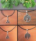 Tree of Life Triquetra Celtic Knot Thong Necklace Pagan Wicca Tibetan Silver