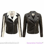 LADIES WOMENS PU FAUX LEATHER PVC PADDED SHOULDER BOMBER BIKER JACKET COAT 8-14