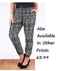 New Ladies Ali Baba Aztec Paisly Printed Cuffed Harem Pants Pocket Trousers 8-14
