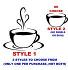 COFFEE CUP SWIRLS DECAL STICKER KITCHEN BREAKROOM CAFE WALL ART ESPRESSO HOT TEA
