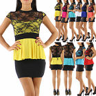 New Sexy Women Clubbing Cocktail Mini Dress Peplum Party Lace Mini Dress UK 6/12
