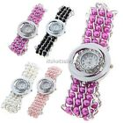 Women's Girl Ladies Beads Band Rhinestone Crystal Quartz Wrist Watch Round Dial