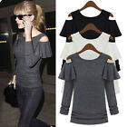 Sexy Women Off Shoulder Bandage Long Sleeve Casual Slim T Shirt Top Blouses Punk