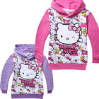 Kids Girls Kitty Kitten Long Sleeve Hoody Hoodie Dressy Tops Coat Size:2-8 Years