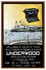 6231.Underwood.typewriter over cuban waters.fort in back.POSTER.Home Office art