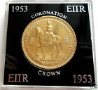 UNIQUE RARE GOLD PLATED CROWN COINS - CHURCHILL JUBILEE 1953 QUEEN MOTHER CASED