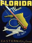 6334.Florida.eastern air lines.plane flying over state.POSTER.Home Office art