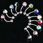 FD735 Crystal Rhinestone Belly Navel Button Dangle Ring Body Piercing ~1pc/