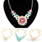 Womens Multicolor Flower Pendant Collar Chain Choker Necklace Costume Jewelry
