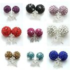 STUD 10MM SHAMBALLA EARRINGS DISCO BALL - Czech Crystal White Silver Red Black