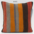 "16"" MATCHING VINTAGE TURKISH HANDWOVEN STRIPE KILIM RUG PILLOW COVER A1472-6-9"