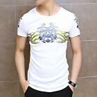 Korea New Crewneck Printing Tops Casual Men Slim Fit Short Sleeve Cotton T-Shirt