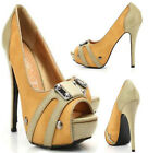 WOMENS LADIES BUCKLE HIGH HEEL PLATFORM  PEEP TOE COURT PUMPS SHOES SIZE YL09C82