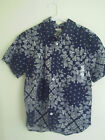 ~Old Navy ~ Boys 's Navy Blue White Paisley Floral Dress casual Shirt~Size M~