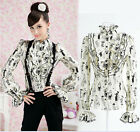 Womens Vintage Stylish Gothic Lolita Ruffle Front High Neck Bow Blouse Top Shirt