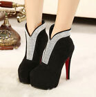 Womens sexy Rhinestones faux suede pump high heels platform ankle boots shoes