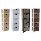LOXLEY 5  RATTAN WICKER TALLBOY DRAWER WOODEN STORAGE CHEST - Choice of Colours