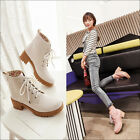 Womens Fashion lace up Round toe chunky block heels ankle boots shoes plus size